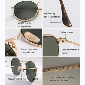 Image 4 - Real Glass Lens UV400 Retro Round Sun glasses sunglasses men women luxury designer brand feminine oculos de sol 3447