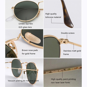 Image 4 - เลนส์ Real UV400 Retro รอบดวงอาทิตย์แว่นตาแว่นตากันแดดผู้ชายผู้หญิง Luxury designer แบรนด์ผู้หญิง oculos de SOL 3447