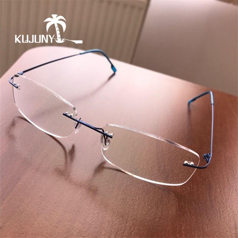 KUJUNY Men's Women's Eyeglass Frame Men Business Titanium Alloy Flexible Rimless Optical Frames Ultralight Metal Spectacle Frame