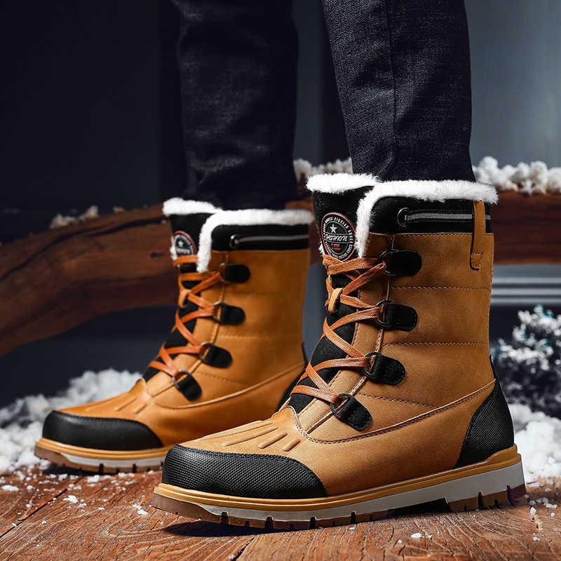 Mannen Winter Laarzen Lederen Werkschoenen Mannelijke Enkel Snowboots Waterdichte Mannen Warme Veiligheid Laarzen Big Size 38- 46 # Botas Hombre