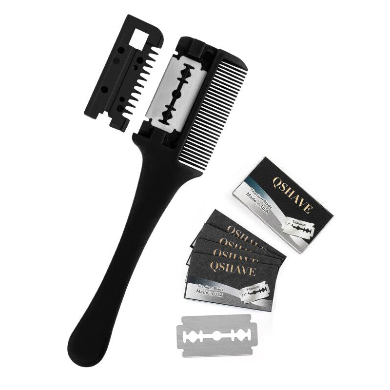 Hair Razor Comb Black Handle Hair Razor Cutting Thinning Comb Home DIY Thinning Trimmer Tools New Professional With 5 Blades