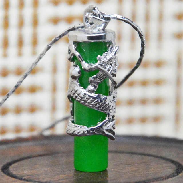 Natural 925 Prata Inlay Malay Pingente Jade Natural Verde Esmeralda Pingente Colar Enviar Cadeia