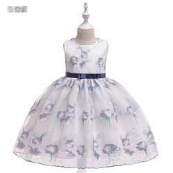 Коллекция 2019 года, Новое Стильное торжественное платье с вышивкой для девочек платье принцессы с свежими цветами свадебное платье