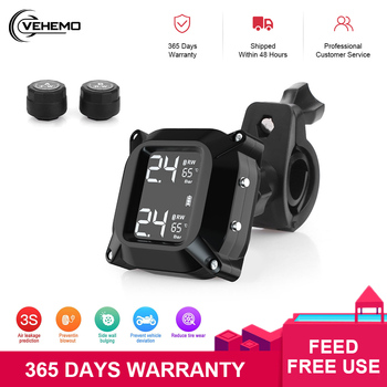 Motorcycle Tire Pressure Monitoring System Motorbike 2 Sensor USB Waterproof Real-time M6 Wireless TPMS Alarm Systems Security