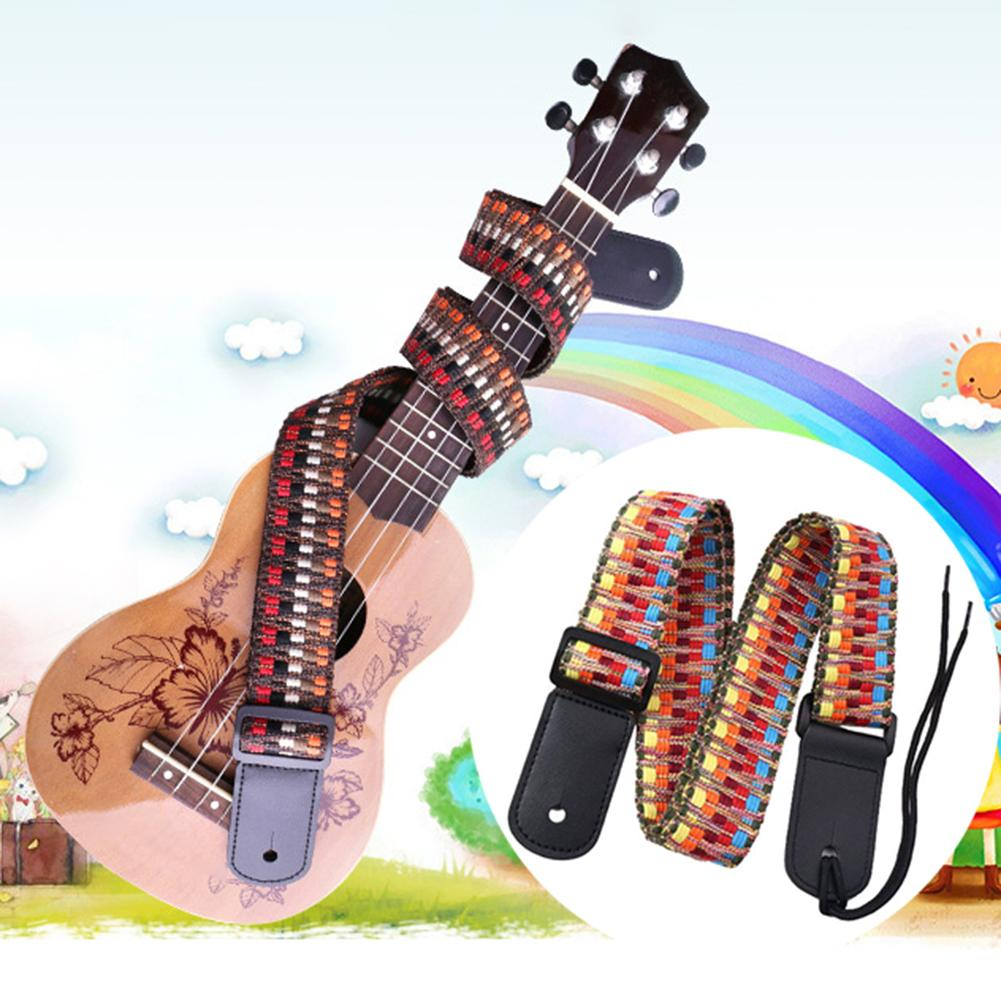 1 PC Ukulele Strap Ethnic Colorful Weaving Adjustable Cotton Faux Leather Ukulele Shoulder Strap