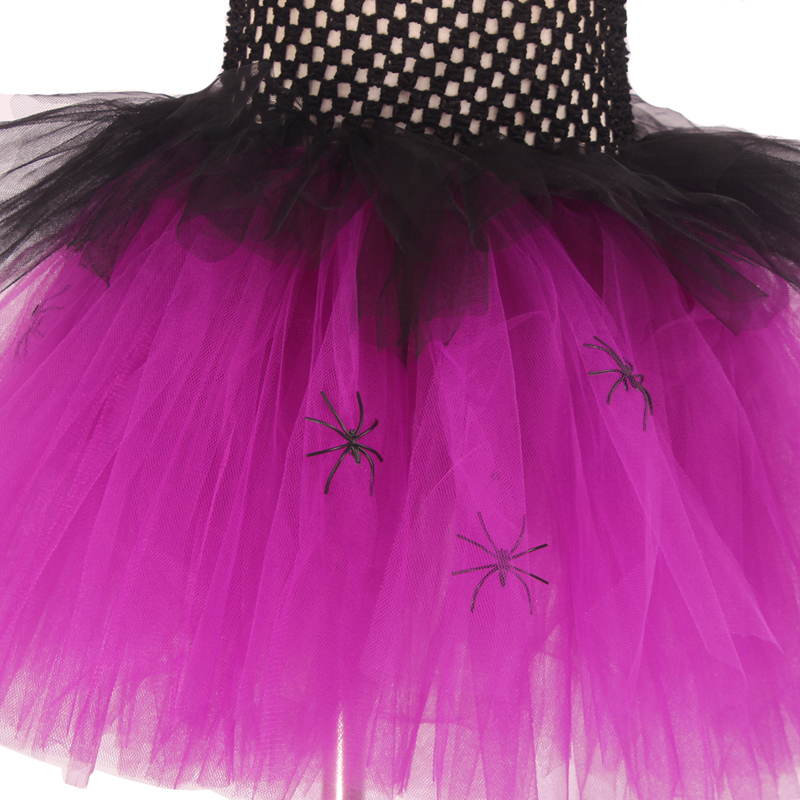 Spider Girls Witch Tutu Dress with Hat Black Purple Children Halloween Carnival Cosplay Witch Costume Kids Party Fancy Dresses (2)