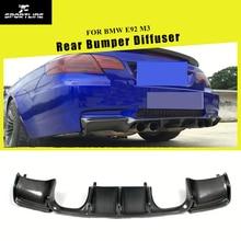 Углеродное волокно/Черный FRP Автомобильный задний бампер Защита для губ Диффузор спойлер для BMW E92 M3 2007-2013