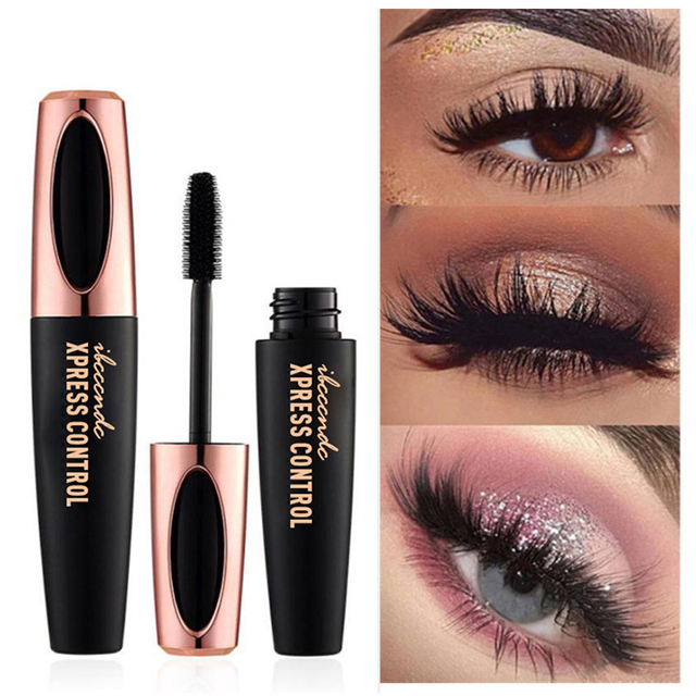 Waterproof 4DSilk Fiber Eyelash Thick Lengthening Black Mascara Fashion Sexy Makeup Cosmetics Eye Lash Extension Cream Eyelashes 3