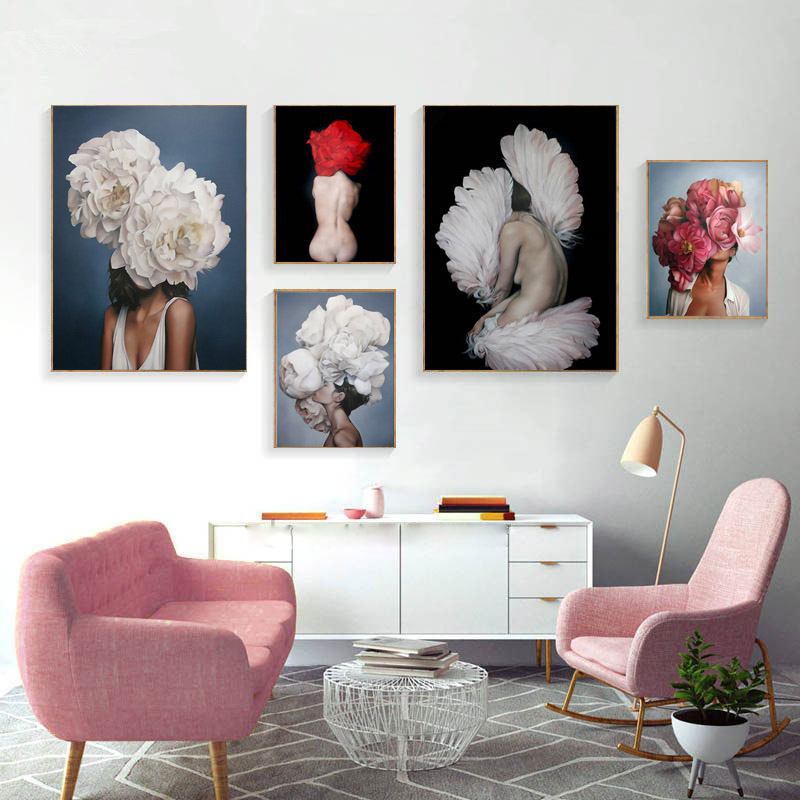 Noridc Posters And Prints Flower Sexy Girl Feathers Characters Canvas Painting Wall Pictures For Living Room Home Decor Unframed