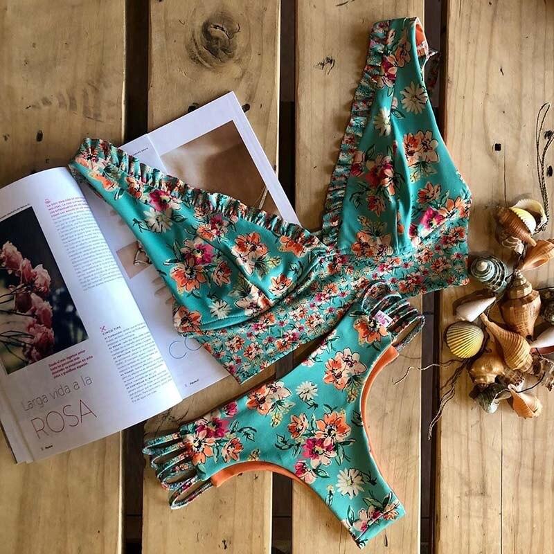 2019 Bikinis Women Swimwear Push Up Bikini Set Swimsuit Top Solid Bottom Print Brazilian Biquini Bathing Suit Swim Wear Beach