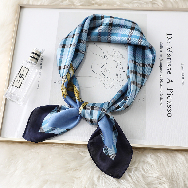 2020 Plaid Silk Scarf Women Luxury Brand Neck Scarves Hair Band Foulard Lady Accessories Square Head Wraps Bandana