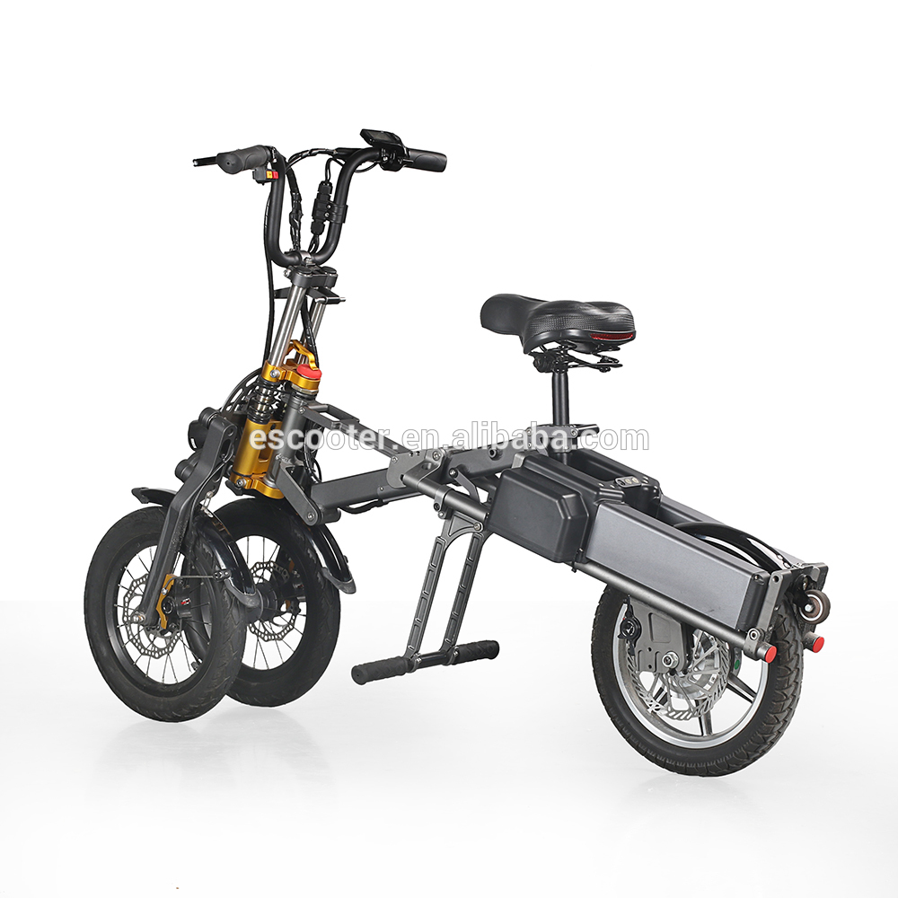 EcoRider E6-7 14 Inch 3 Wheel Foldable Electric Bicycle  48V 250W Electric Folding Bike for Work 1