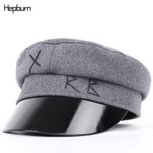 Hepburn brand Men Women Military Cap Embroidery Cotton octagonal cap female visor caps Sailor Outdoor Sun Hats
