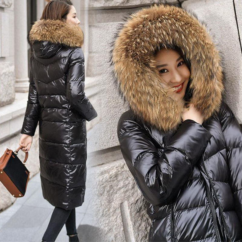 Long White Duck Black   Down     Coat   Women Thick fur collar Hooded Winter large size Windproof Snow Outwear Warm Female Puffer Jacket
