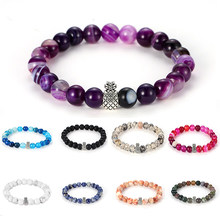 Howlite Stone And Volcanic Rock Lava Stone Beads Pineapple Bracelet Set For Women Men Stretch Jewelry Gift Bohemia Bracelet(China)