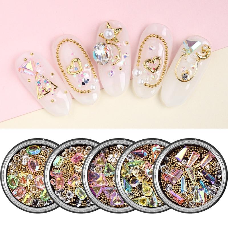 DIY 3D украшения для дизайна ногтей AB ювелирные изделия из кристаллов бриллианты маникюрные Стразы драгоценные камни золотые бусины для