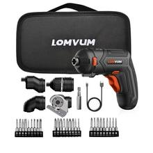 Lomvumミニusb充電式電動ドライバーセット 4 18vコードレスドライバーセット 4 頭変更多機能ドライバー