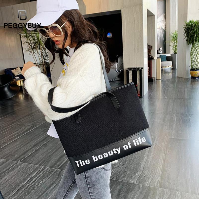 Casual Women's Linen Letter Handbags Brand Designer Large Capacity Shopping Bags Splicing Shoulder Bag Large Zip Totes
