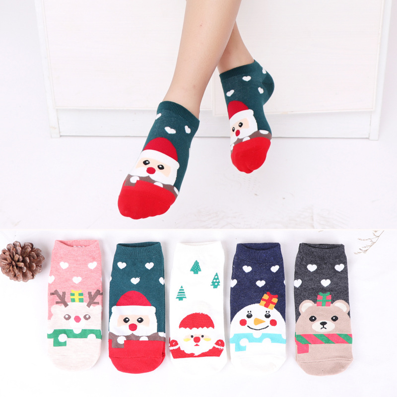1 Pair Cotton Spring Winter Autumn Kids Christmas Socks Children Girls Boys Socks Snowflake Elk Santa Claus Bear For 6-12years