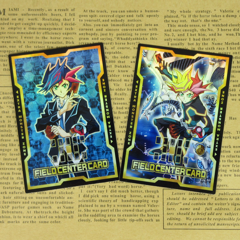 2pcs/set Yu-Gi-Oh! VRAINS Yusaku Fujiki Playmaker Field Center Cards Orica Cyberse Firewall Dragon Yugioh Collectible Shiny Card