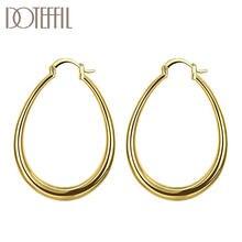 DOTEFFIL 925 ayar gümüş düz U daire Hoop 18K altın/gül altın küpe kadınlar için parti hediye moda charm düğün takısı