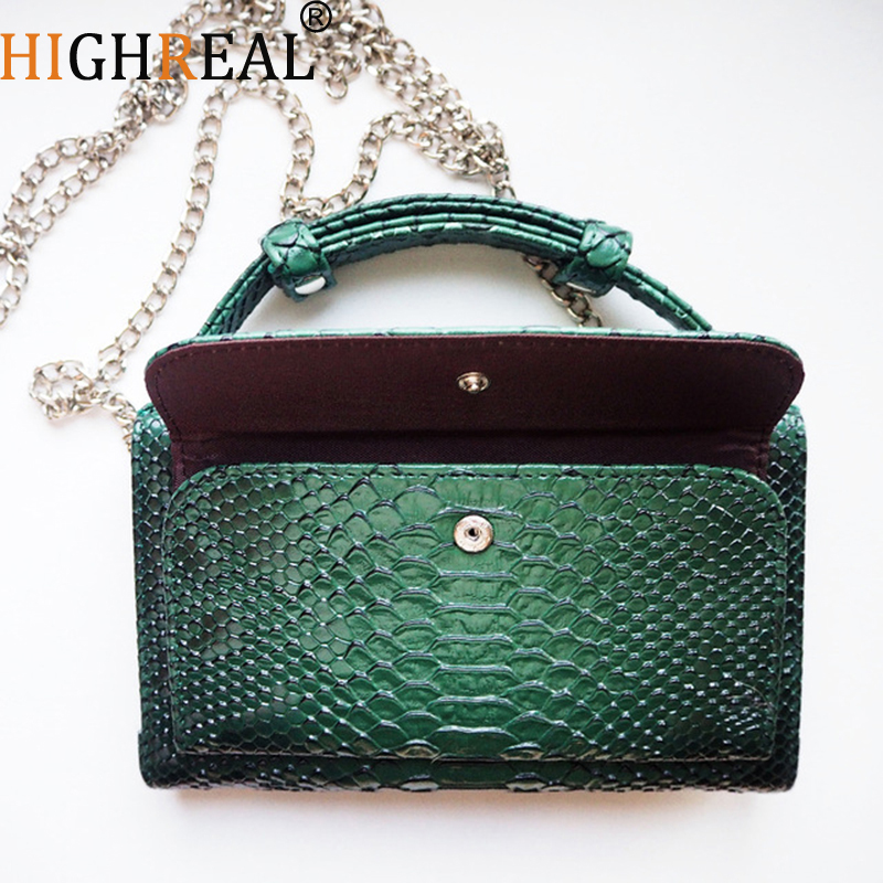 HIGHREAL Women Bags Genuine Leather Handbags Luxury Shoulder Bags For Women Designer Animal Crocodile Pattern Phone Clutch