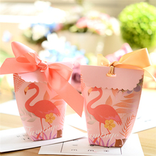 20PCS Flamingo unicorn Gift Box with Ribbon Wedding Favors Decoration Baby Shower Candy Boxes for Birthday Party Supplies