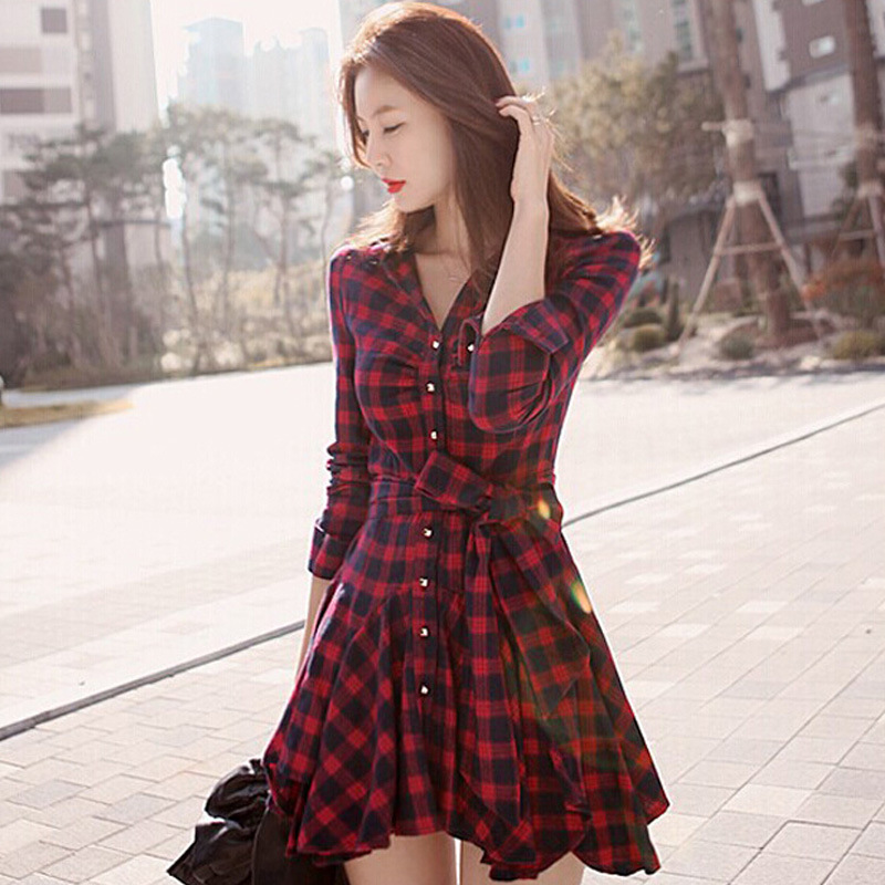 Foreign Trade Original Garment Export Autumn And Winter Base Skirt Elegant Waist Hugging Red Plaid Long-sleeved Dress