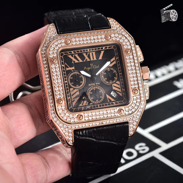 Luxury Brand New Chronograph Men Stopwatch Sapphire Full Iced Diamond Rose Gold Silver Black Brown Leather Limited Classic Watch