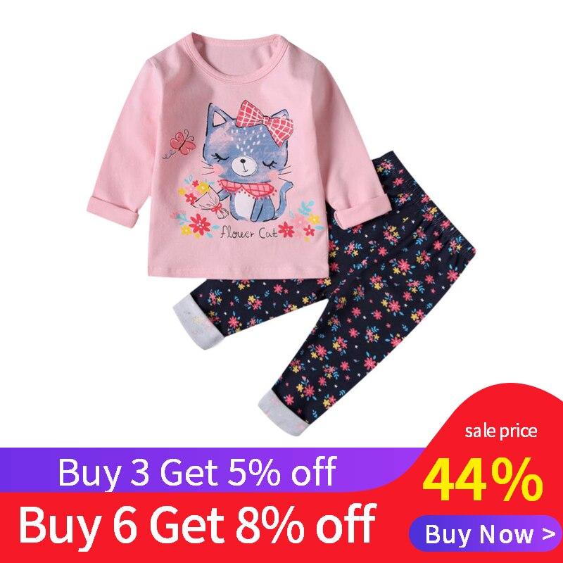 SAILEROAD Children Pink Cat Pajamas For Girls Kids Pajamas Child Long Sleeve Pyjamas Spring Autumn Baby Sleepwear Clothing Suits