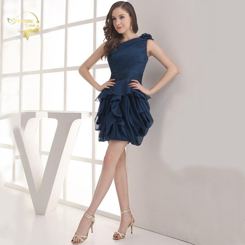 2019 NEW ARRIVAL Cheap Price Vestidos De Formatura Mini Chiffon Fold One Shoulder Flower Short Cocktail Dresses 2019 HCK1235