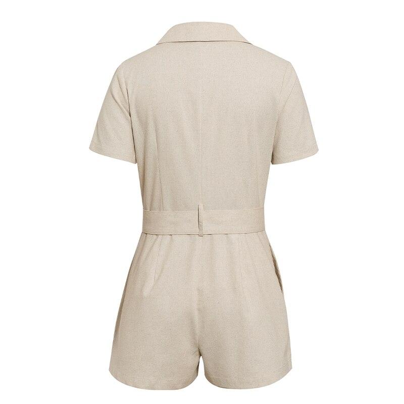 Elegant Button Belt Tie Linen Short Jumpsuit Romper 6