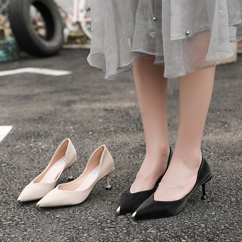 Han edition joker web celebrity 2019 spring the new fine professional sexy pointed black shoes35 in Women 39 s Pumps from Shoes