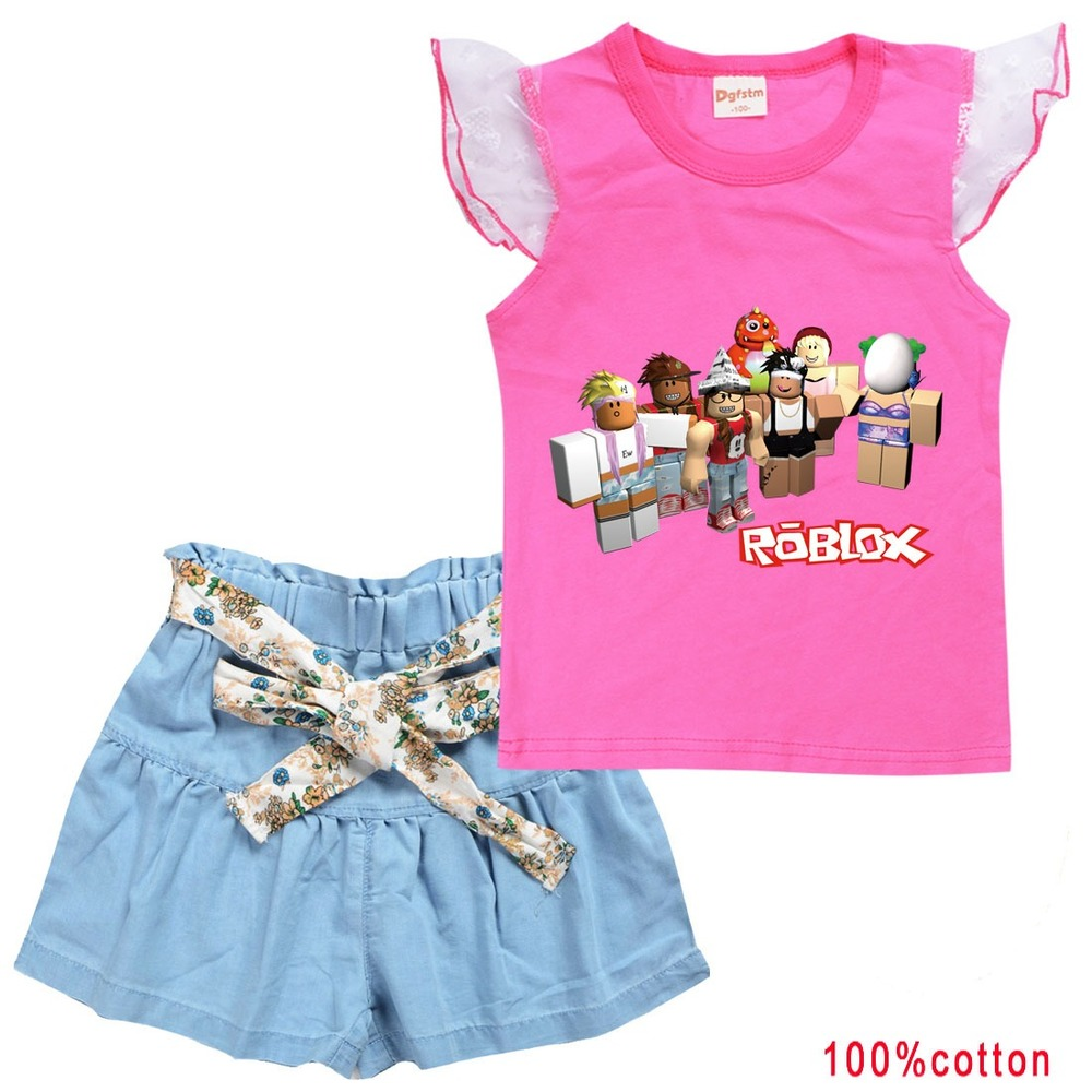 Kids ROBLOXing Clothing Sets Summer New Style Brand Baby Girls Clothes short Sleeve T-Shirt+Pant Dress 2Pcs Children Clothes