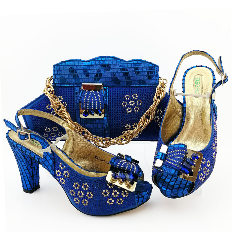 New Royal blue Color Italian design Ladies Wedding Shoes and Bag Set autumn shoes women heels African Matching in women