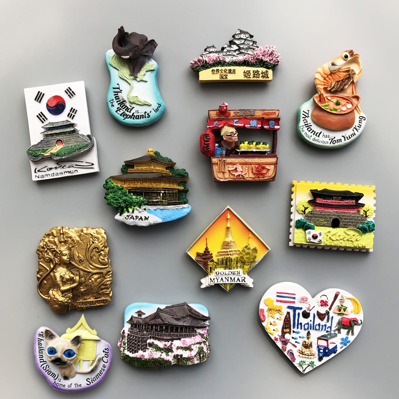 Country Fridge Magnets France Korea Japan Kyoto Thailand Myanmar Fridge Magnet Sticker World Travel Souvenir Magnetic(China)