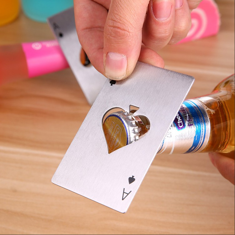 1 piece Beer <font><b>opener</b></font> with Playing <font><b>Card</b></font> <font><b>Ace</b></font> of Spades Poker Soda Stainless Steal <font><b>Bottle</b></font> Cap <font><b>Opener</b></font> image