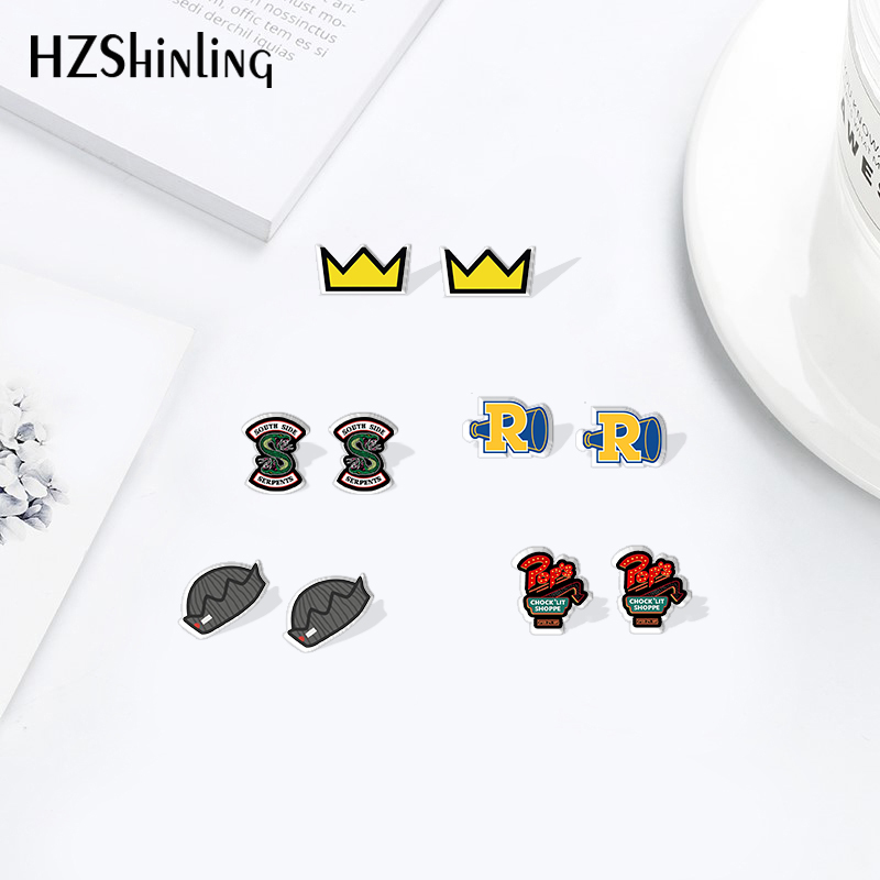 HZShinling New Riverdale Snake Crown Cartoon Mini Earrings Shrinky Dinks Handmade Crafts Acrylic Resin Epoxy Ear Accessories