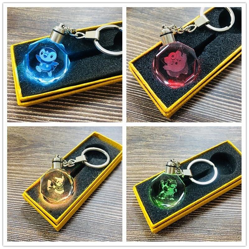 Psyduck LED Keychain Cartoon Key Chain Crystal Kids Keyring Cute Women Key Ring Man Porte Clef Girls Anime Pokemon Jigglypuff