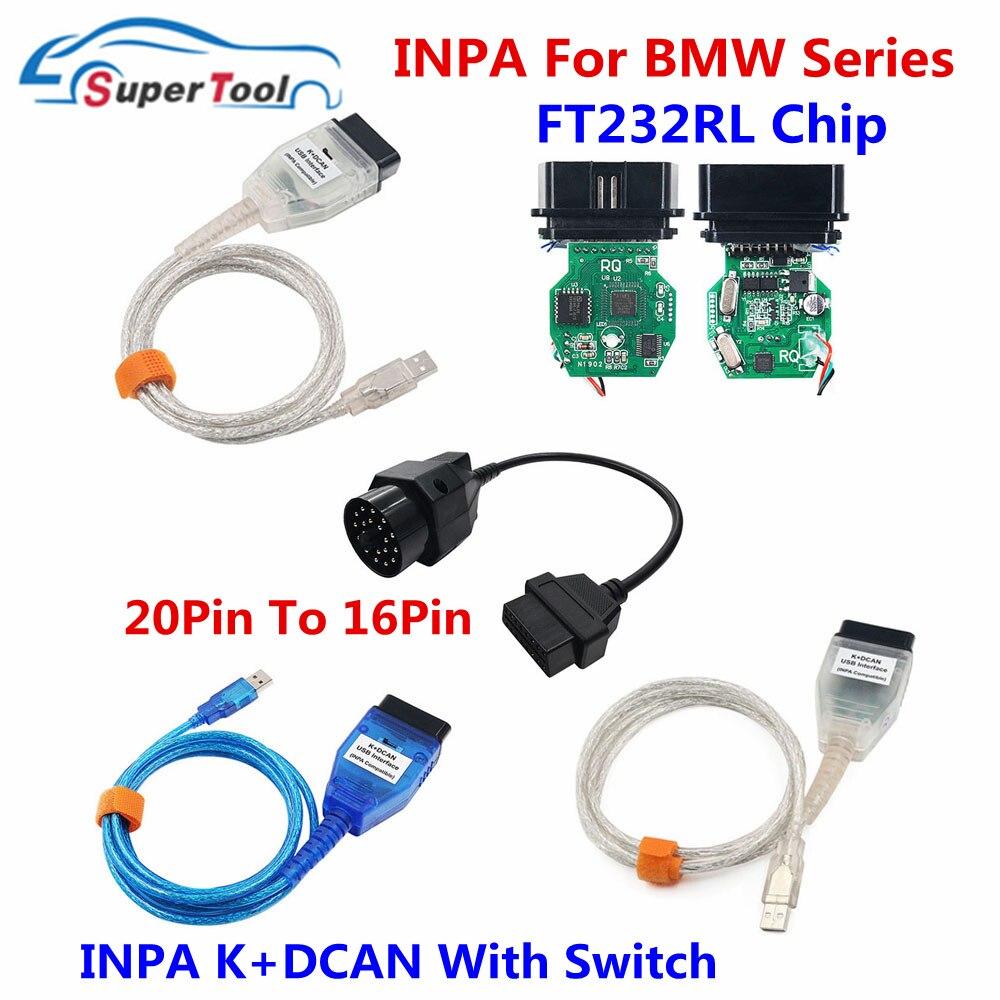 Удлинительный кабель OBD2 для BMW 20Pin для BMW INPA K DCAN диагностические кабели Разъемы для BMW INPA K D CAN переключатель USB FT232RL чип