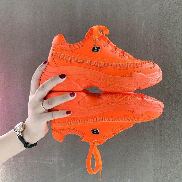 Image 4 - 2020 модные массивные кроссовки; Женская обувь на высоком каблуке; Кроссовки на платформе; Повседневные зеленые, белые, желтые кроссовки; chaussures femme G 48Кроссовки и кеды   -
