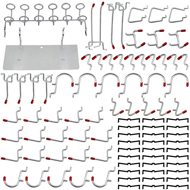 Ev ve Bahçe'ten Kanca ve Raylar'de 86 parça delikli pano kancaları organizatör çeşitleri Metal kanca  Pegboard kutuları ve Peg kilitleri title=