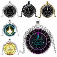 2019 New 3 Color Glass Necklace BILL CIPHER WHEEL Steampunk Drama Gravity Fall Mystery Crystal Pendant Necklace