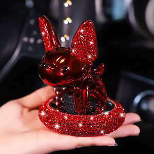 Personality Car Interior Decoration Ornaments Cartoon Cute Pet Lucky Dog Auto Perfume Diamond In-Car Center Console Accessories