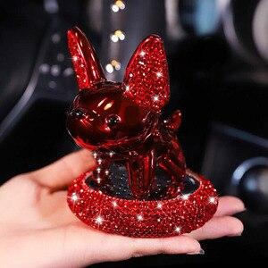 Personality Car Interior Decoration Ornaments Cartoon Cute Pet Lucky Dog Auto Perfume Diamond In-Car Center Console Accessories