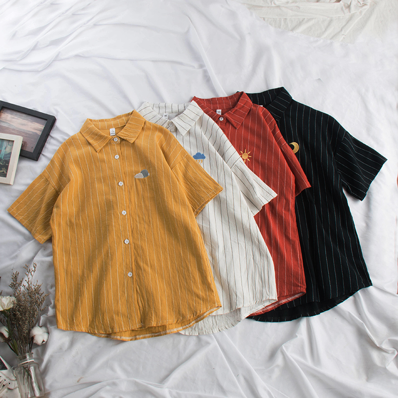 Women Kawaii Striped Blouse Moon Embroidery Korean Ladies Tops  1