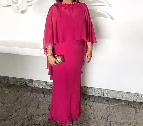 Fuchsia Mother Of The Bride Dresses Sheath Chiffon Appliques Plus Size Long Groom Mother Dresses For Weddings