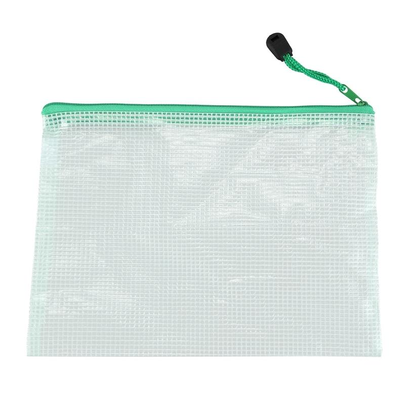 A4 Green Net PVC Folder Bag With Zipper