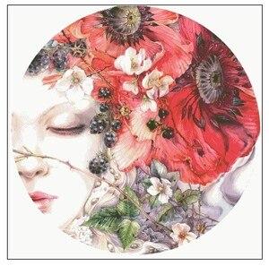 Image 1 - Kit de points de croix comptés, Collection or, Kit de cils, fille de ménage, Portrait et fleurs de coquelicot rouge, aquarelle