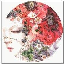 Złota kolekcja haft krzyżykowy zestaw do szycia śpi dziewczyna pokojówka Lass portret i czerwony kwiat maku kwiaty akwarela